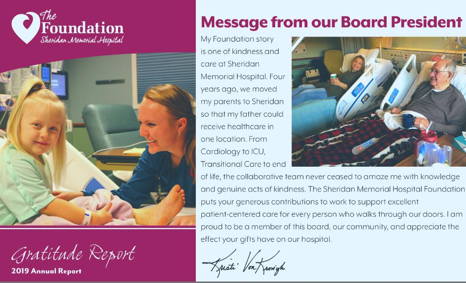 Sheridan Memorial Hospital gratitude report