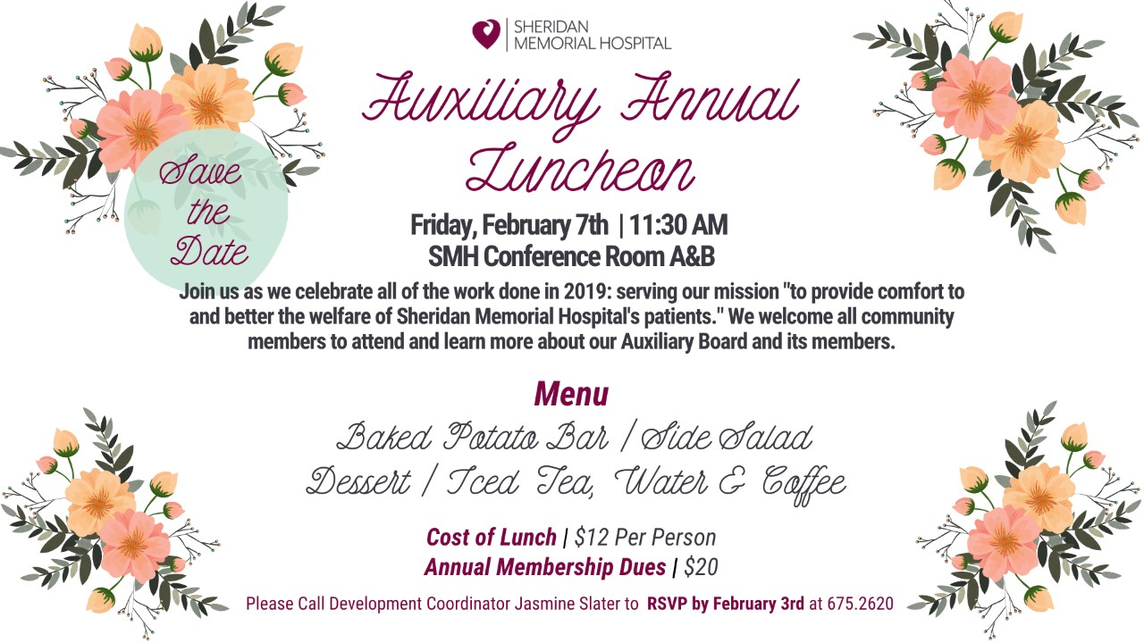 Auxiliary Annual Luncheon @ Sheridan Memorial Hospital - Conference Room A&B