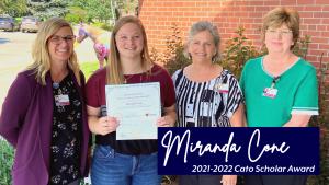 Miranda Cone receiving the 2021-2022 Cato Scholar Award